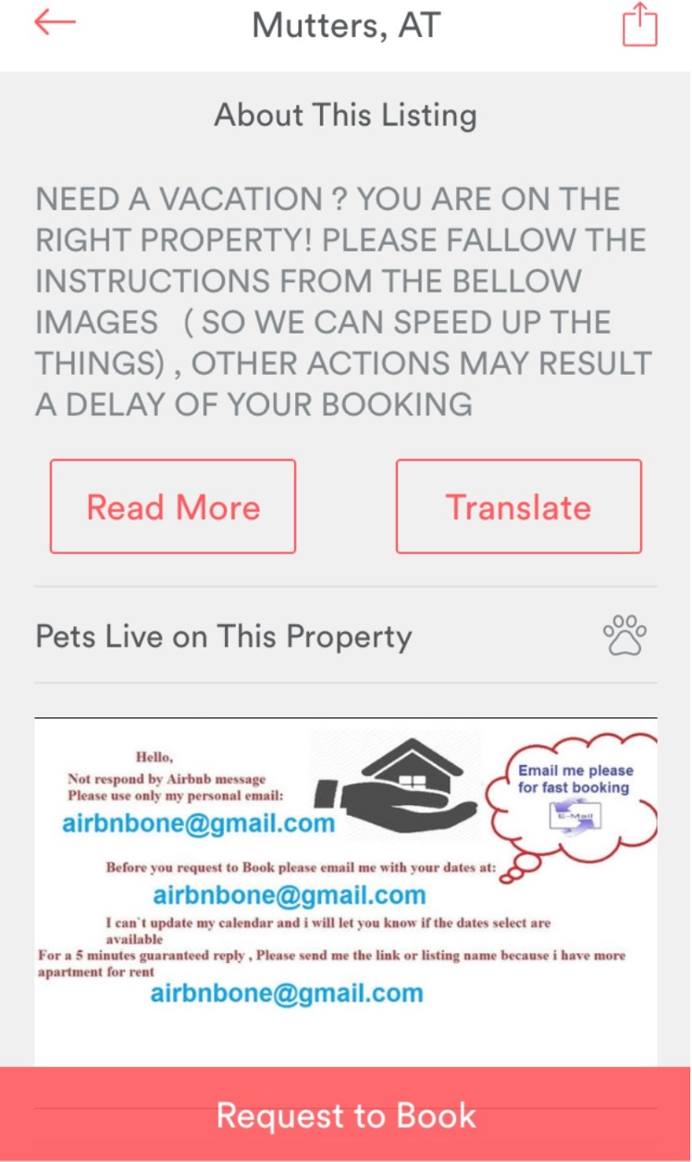 Example of Airbnb scam listing.