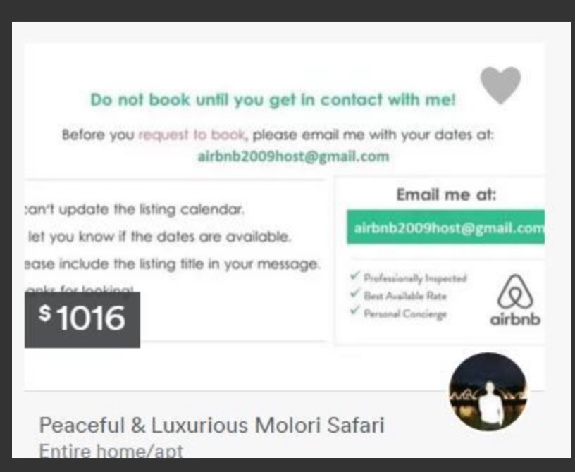 Example of scam Airbnb listing.