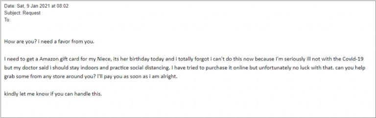 Example of an Amazon gift card scam.