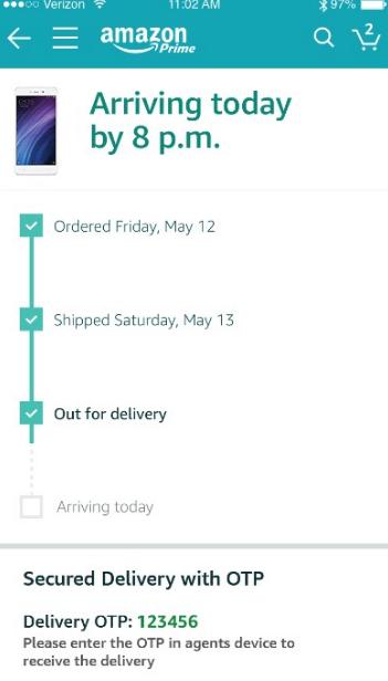 Amazon OTP number.