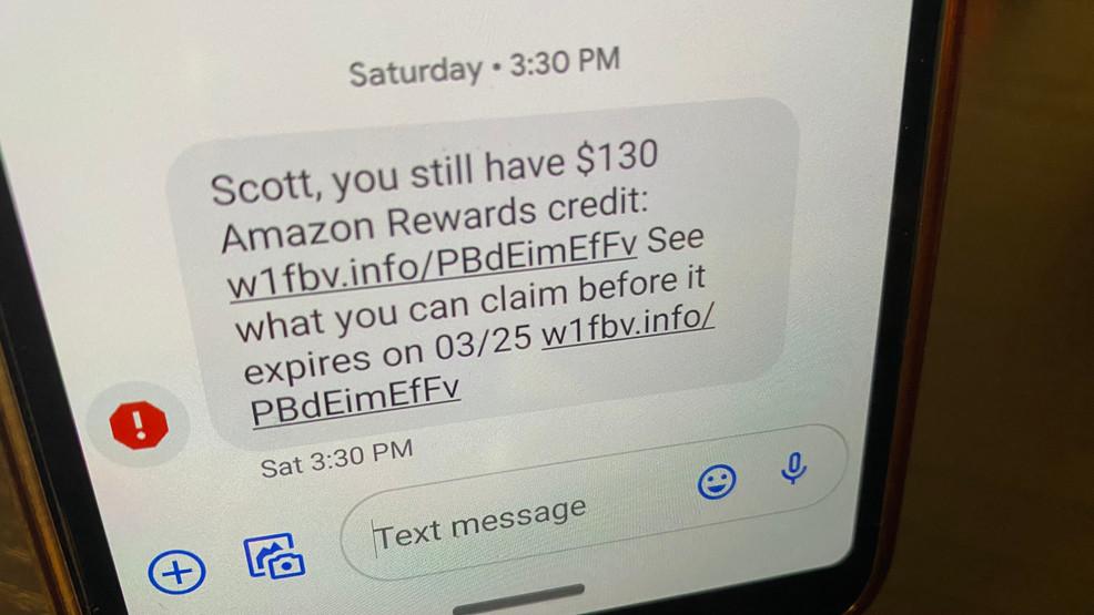 Example Amazon Rewards text scam.