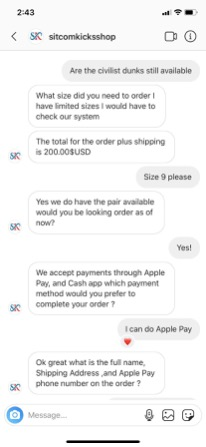 Example of Apple Pay scam