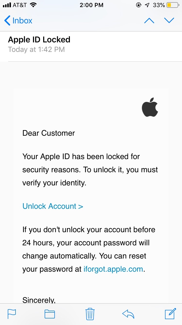 Example of Apple phishing email
