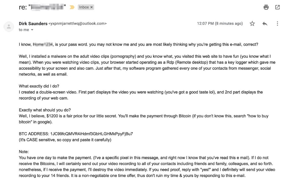 Example of a bitcoin blackmail email.