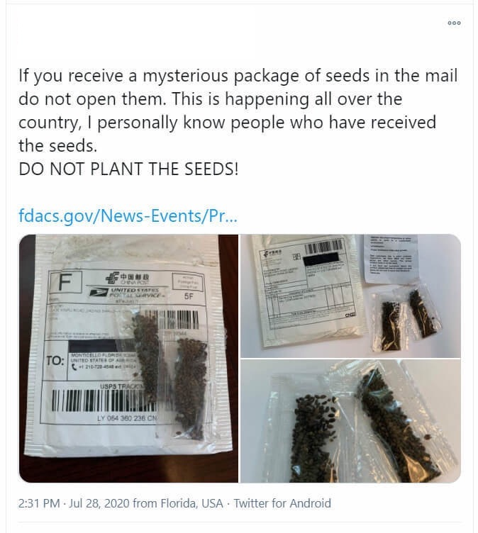 Example of a brushing scam.