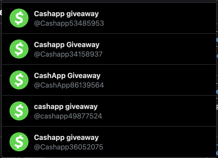 Fake Cash App giveaway Twitter accounts