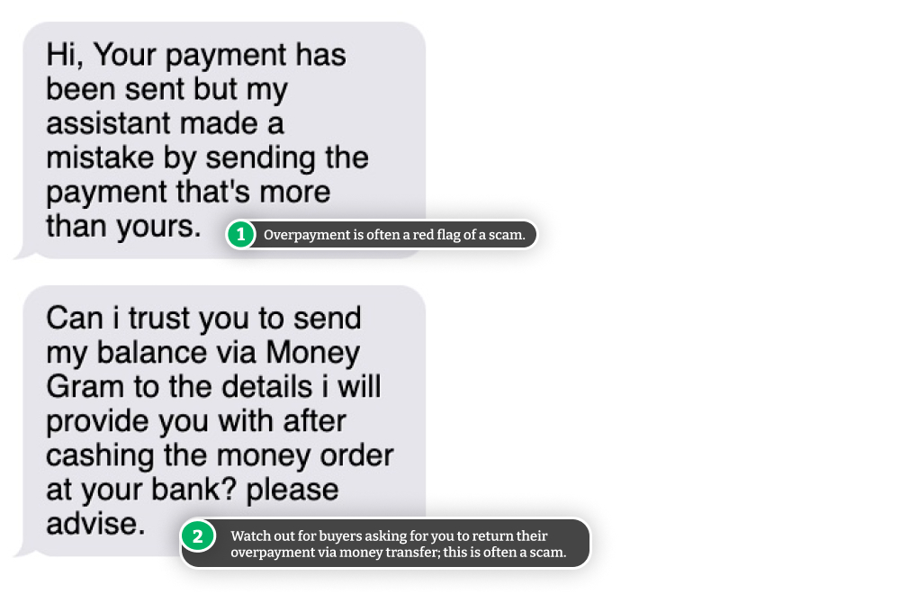 Example of Craigslist payment scam.