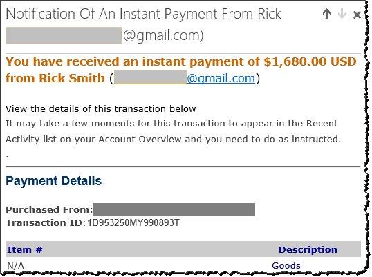 Fake PayPal deposit email.
