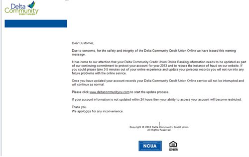 Example of a fake Delta Community Credit Union email