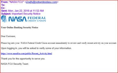 Example of a fake NASA Credit Union email