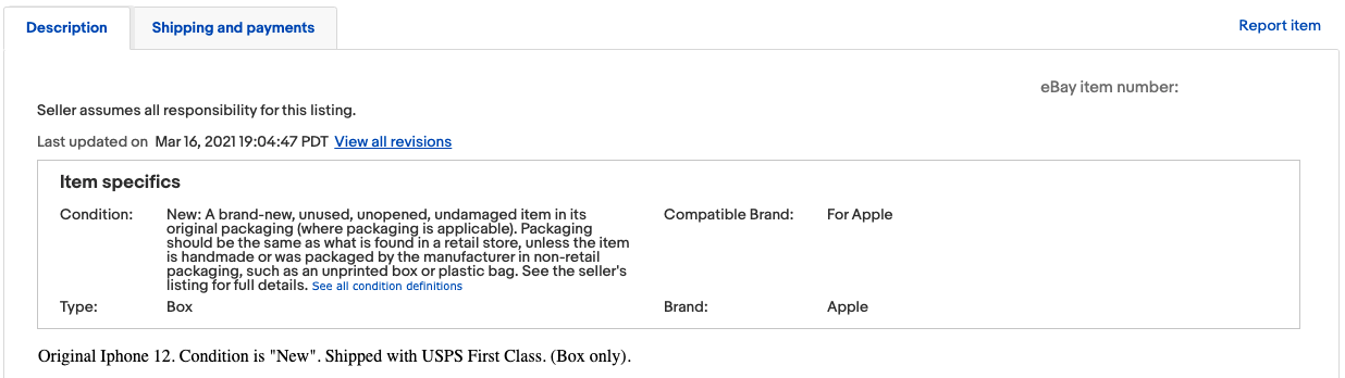 Example eBay empty box scam listing