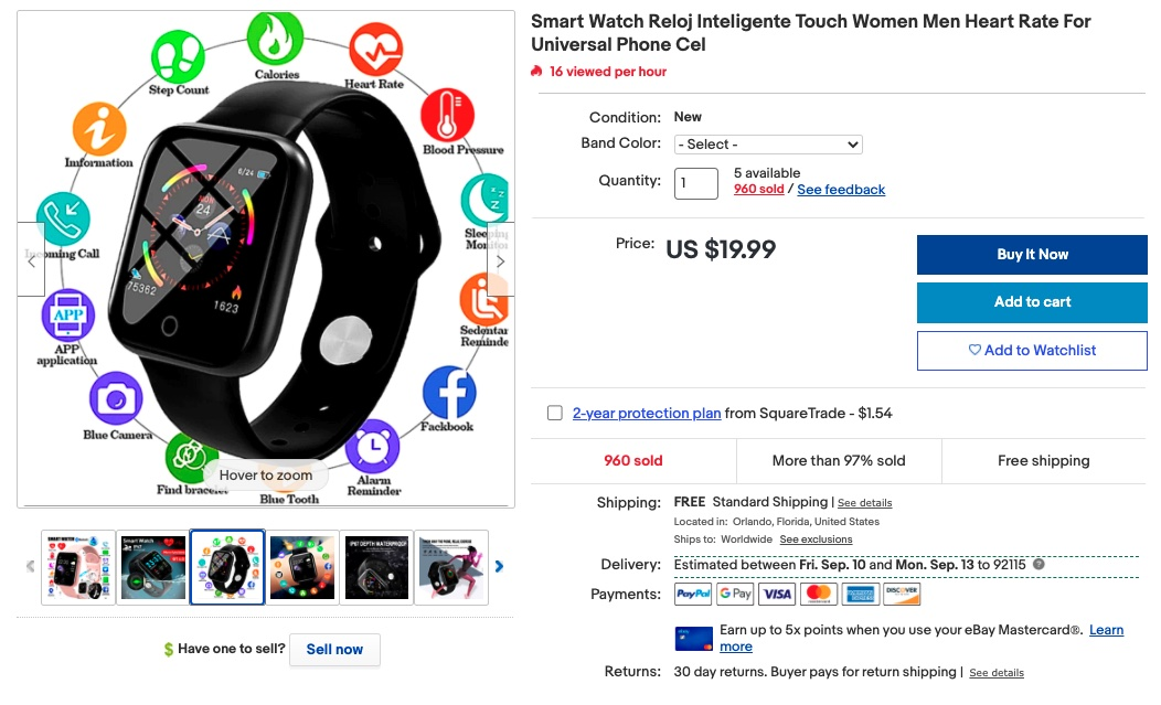 Example of smart watch listing on eBay.