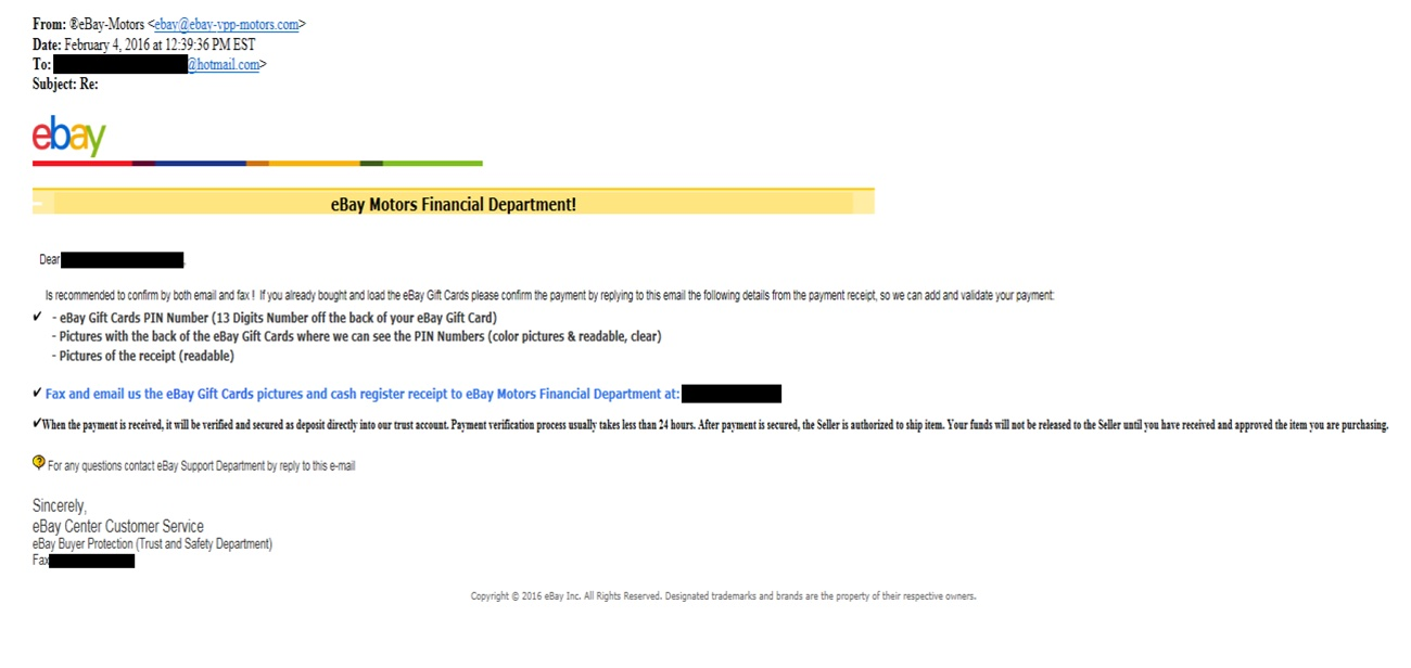 Example of eBay gift card scam.