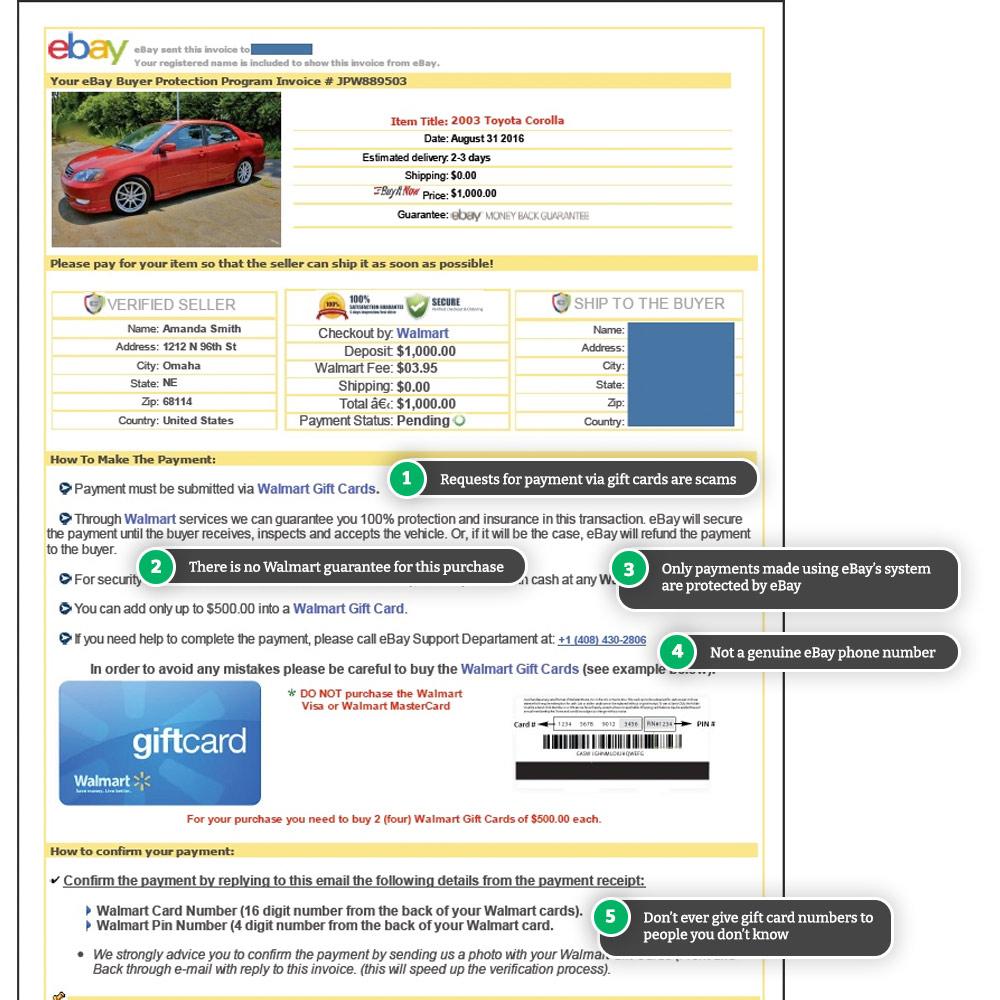 Example of an eBay Motors scam