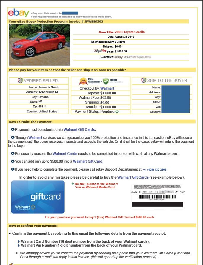 Example of eBay Motors stolen vehicle scam