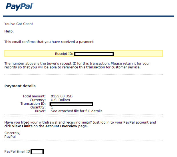 Example of fake PayPal email about eBay transaction