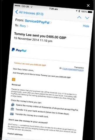Example of eBay fake PayPal email