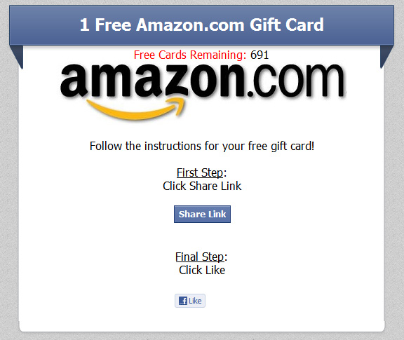 Example of free Amazon gift card offer posted on Facebook