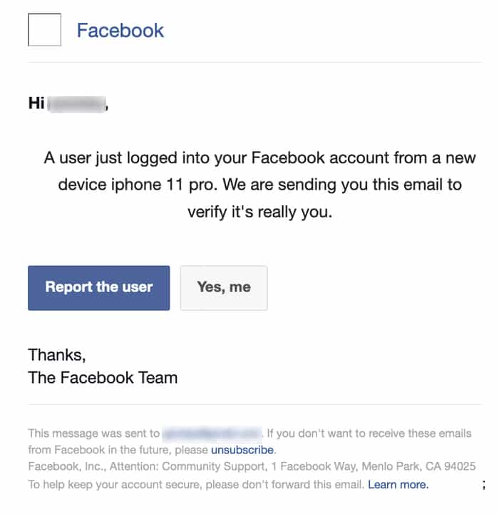 Example of a fake Facebook phishing email
