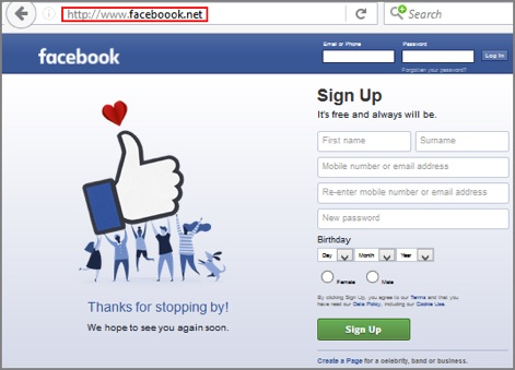 Example of a fake Facebook website.