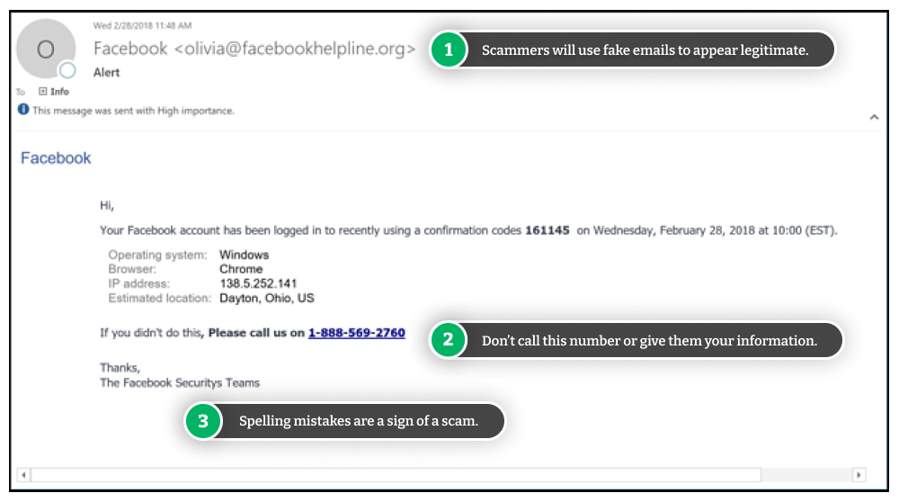 Example of a Facebook phishing email