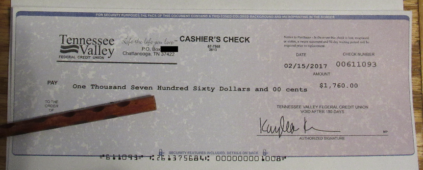 Example of fake cashier's check