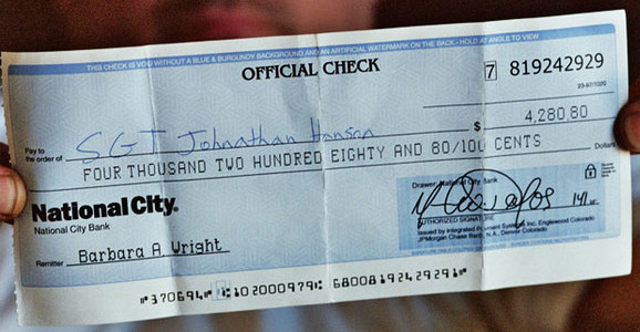 Example of a fake cashier's check