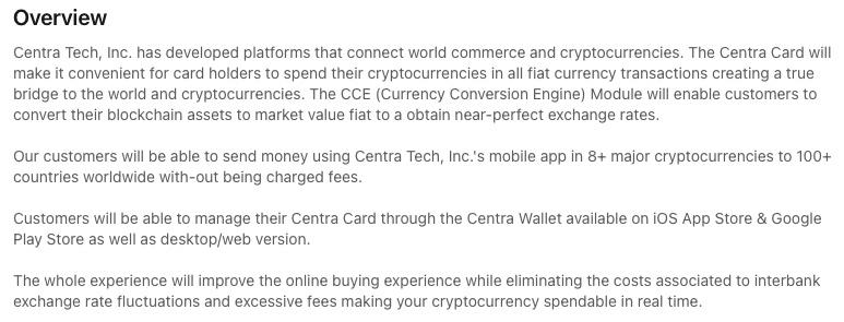 Centra Tech LinkedIn description