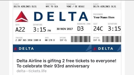 Example of fake airline ticket scam.