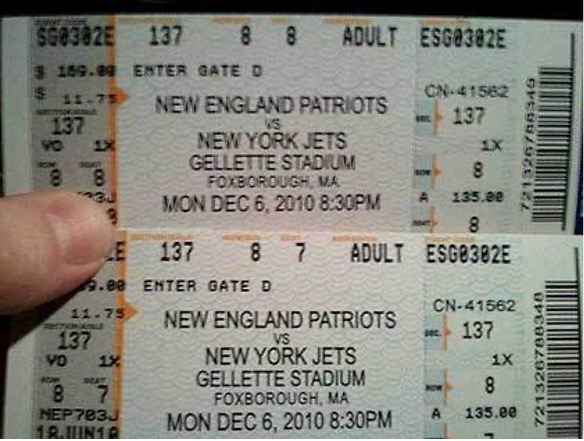 Example of fake New York Giants tickets.