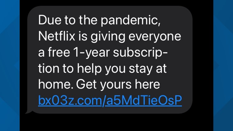 Free Netflix for a year text scam