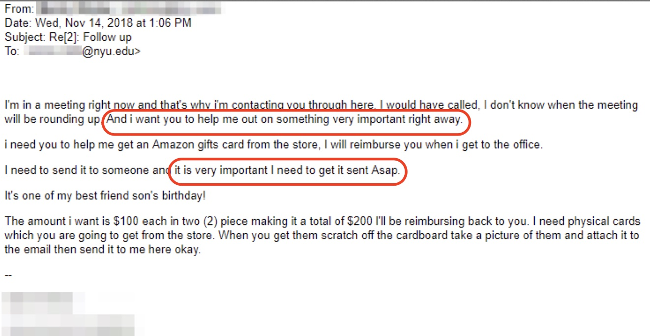 Example email from gift card scammer.