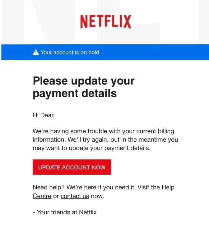 Example of Netflix phishing email