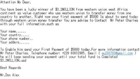 Nigerian Prince scam example.
