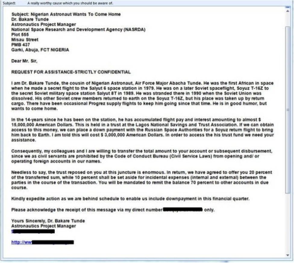 Example of Nigerian Prince scam.