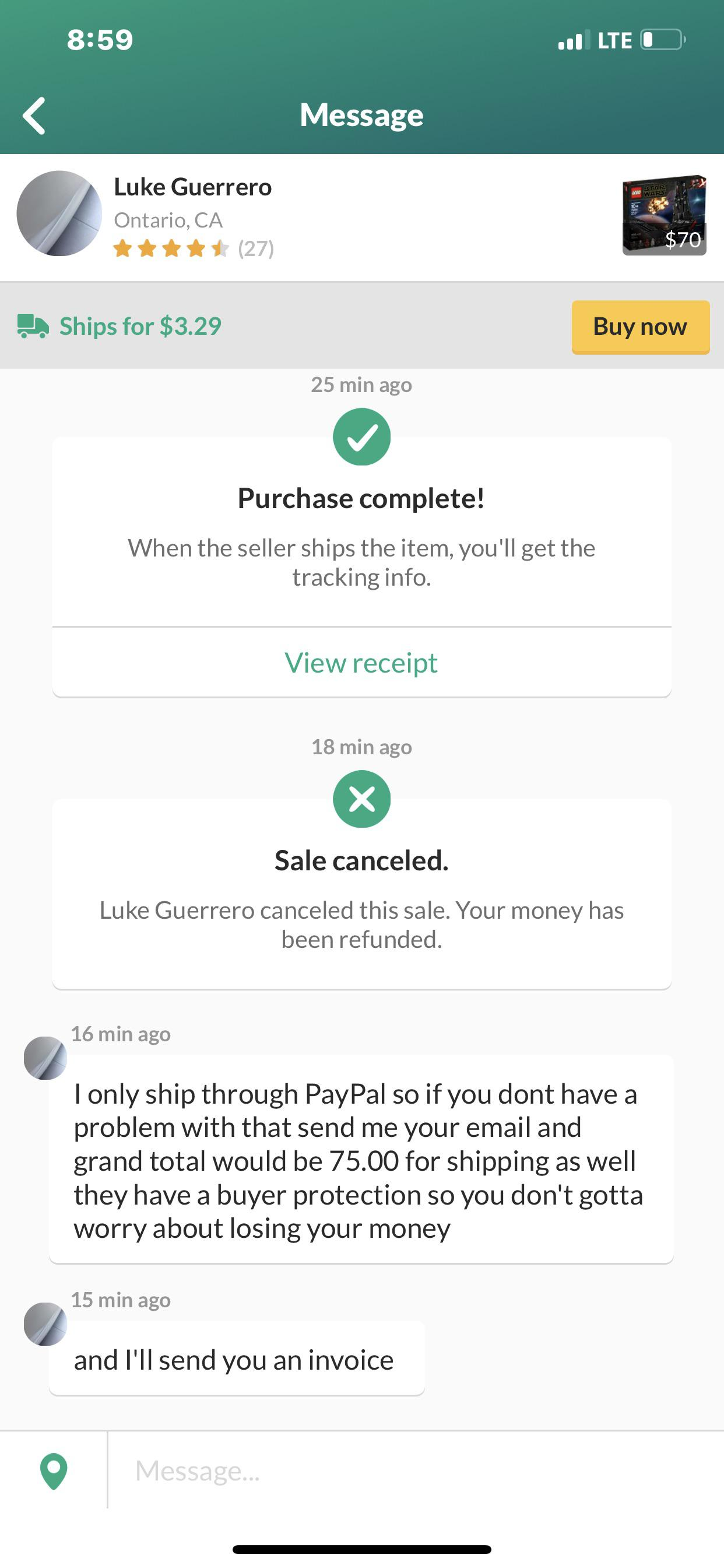 OfferUp shipping scam.