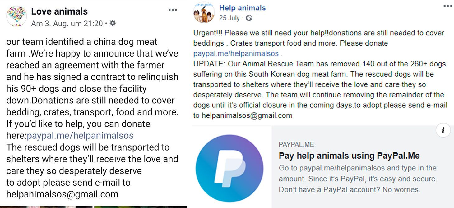 Example of fake charity post on Facebook.