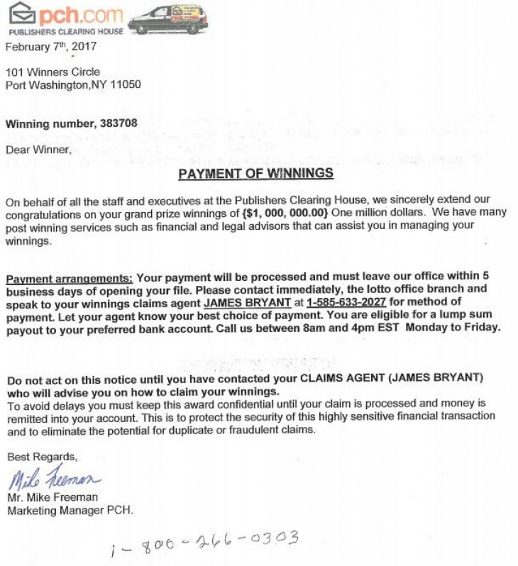 Fake PCH letter.