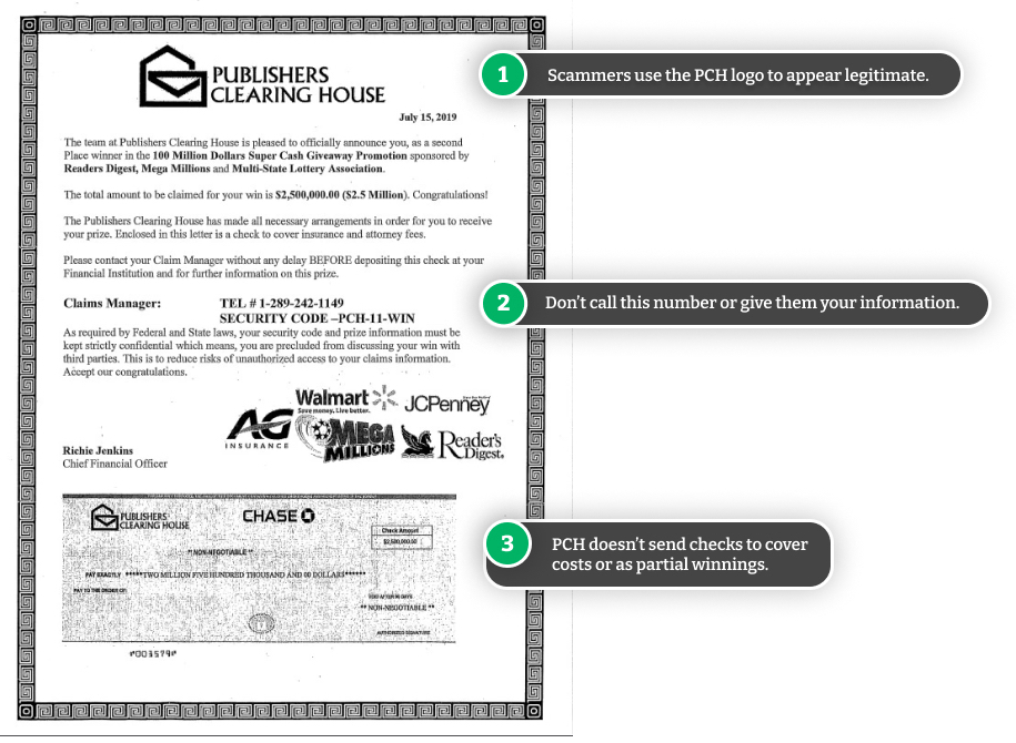 Example of fake PCH letter.