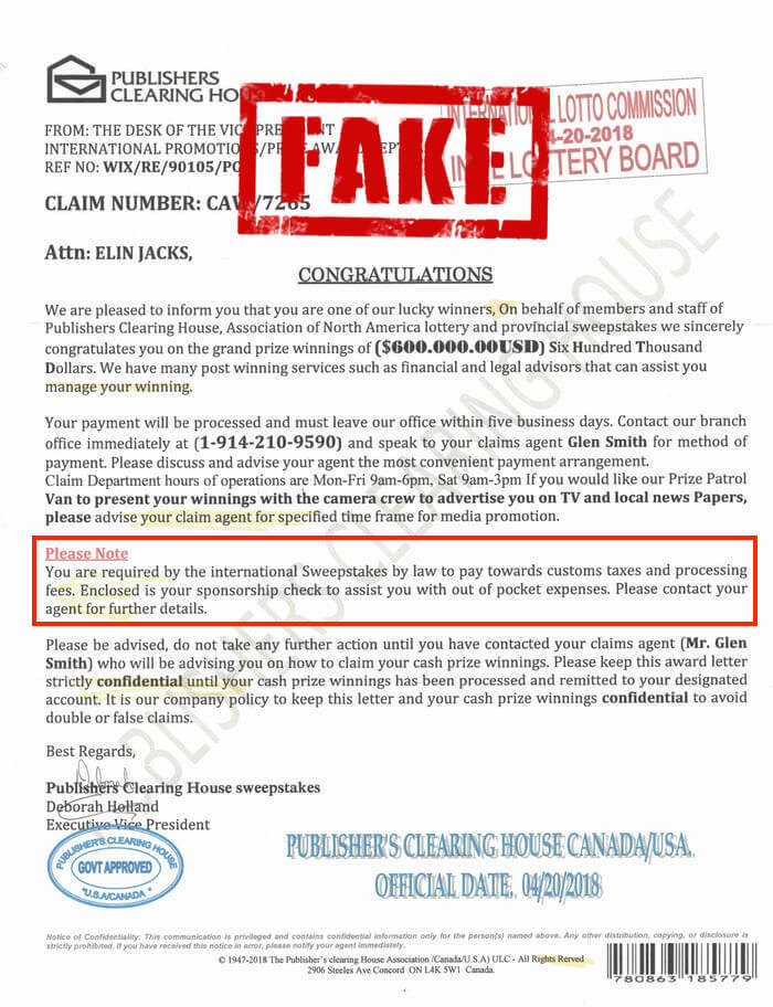 Example fake PCH letter.
