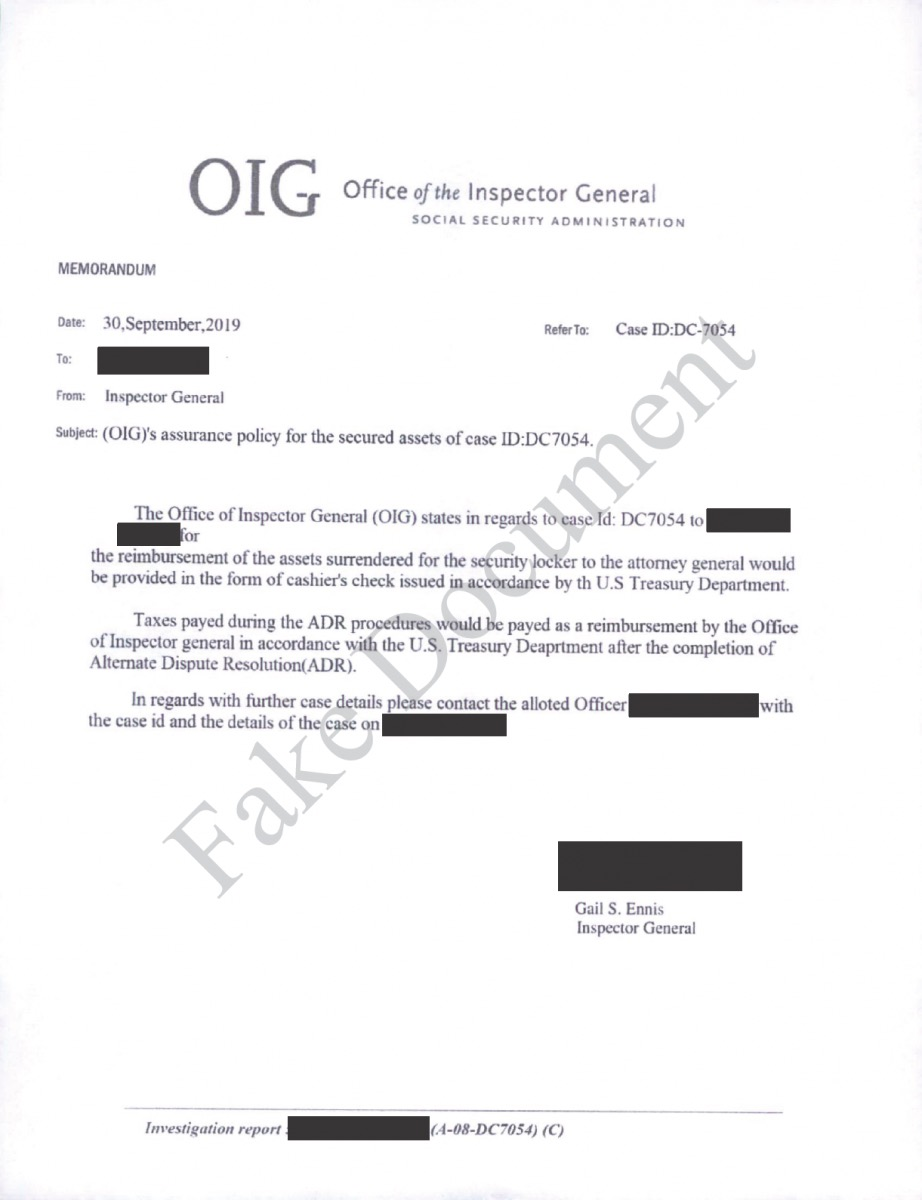 Example of a fake OIG letter
