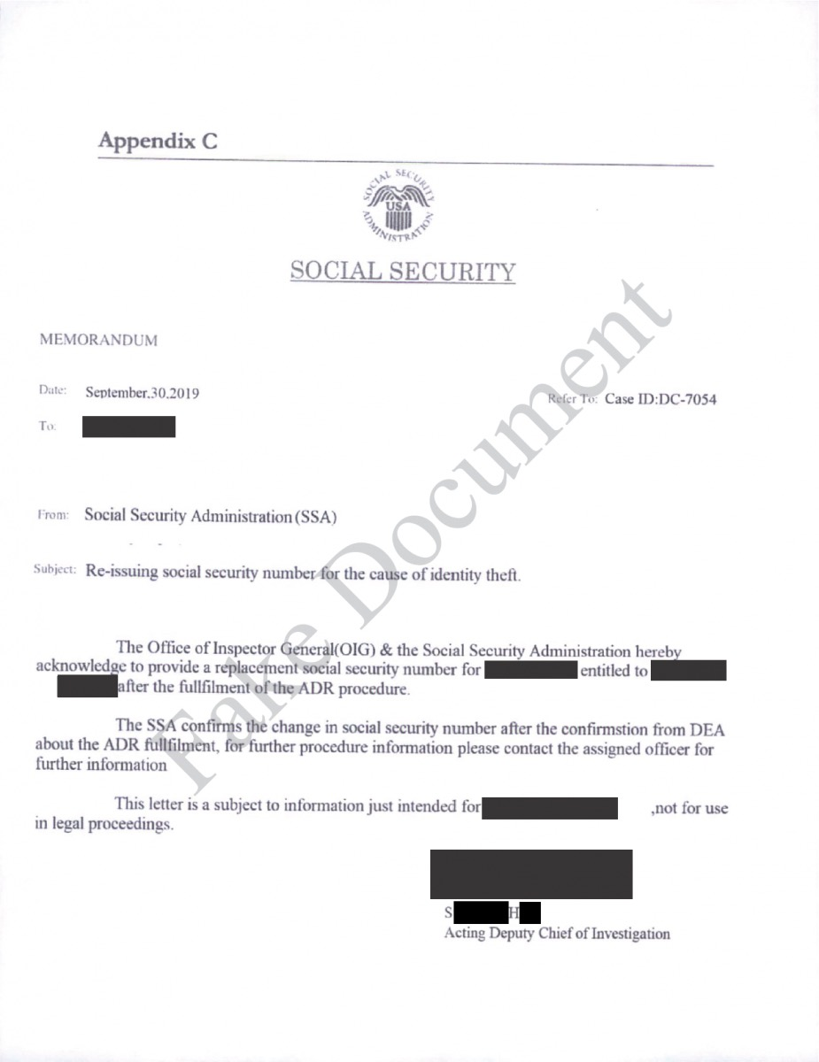 Example of Social Security scam mail
