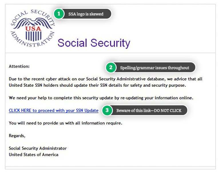 Example Social Security scam email
