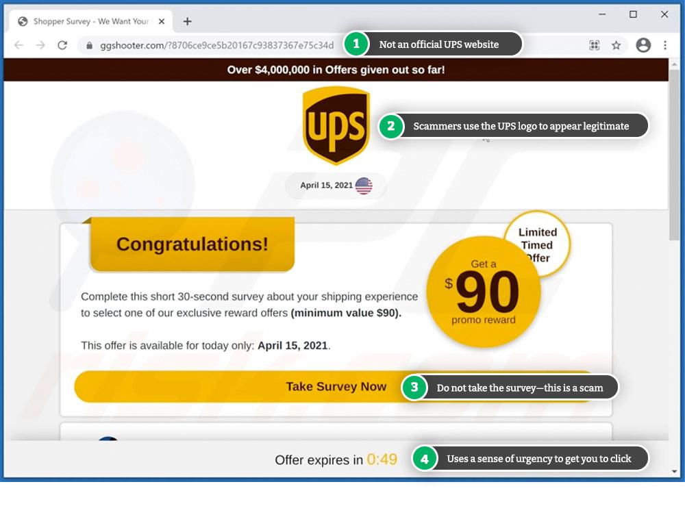 UPS scam involving fake rewards survey.