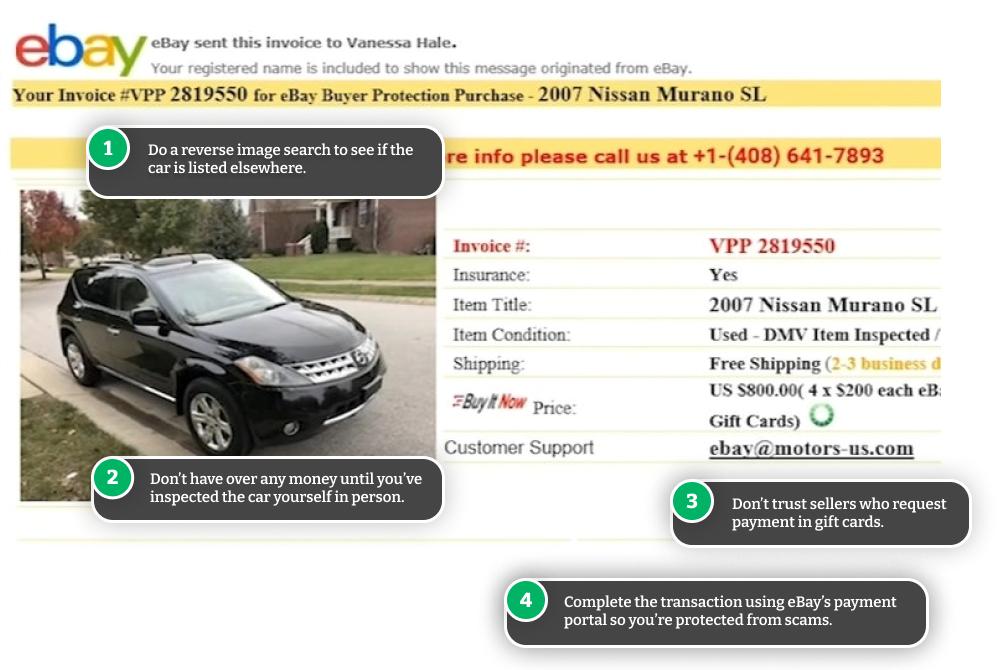 Example of eBay Motors used car scam