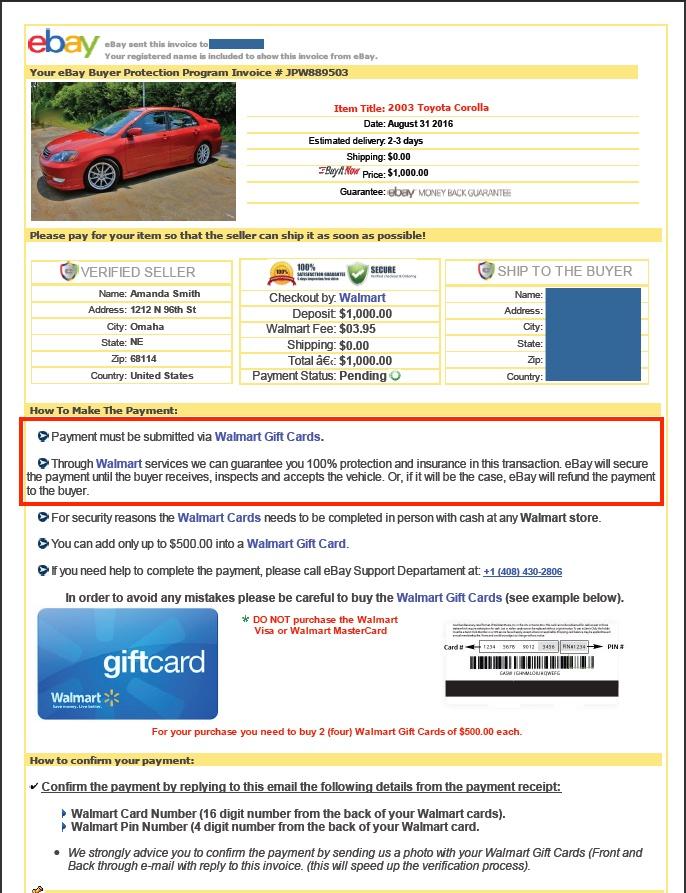 Example of eBay Motors scam