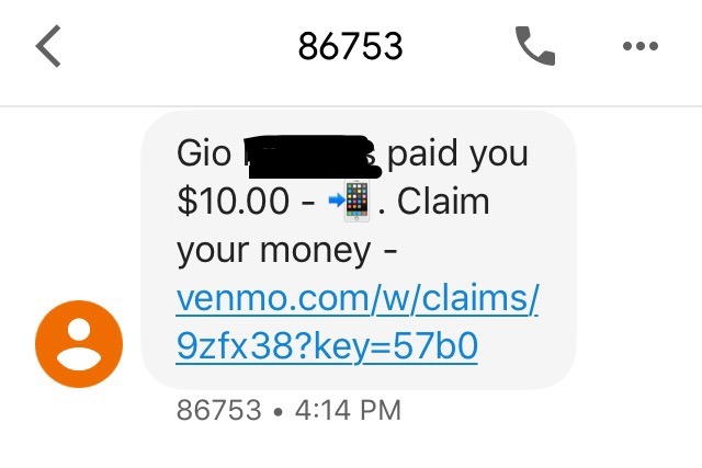 Example of fake Venmo text message.